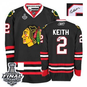 Men's Chicago Blackhawks Duncan Keith Reebok Authentic Third Autographed 2015 Stanley Cup Patch Jersey - Black