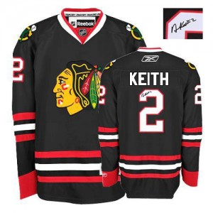 Men's Chicago Blackhawks Duncan Keith Reebok Authentic Third Autographed Jersey - Black