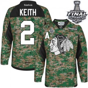 Men's Chicago Blackhawks Duncan Keith Reebok Authentic Veterans Day Practice 2015 Stanley Cup Patch Jersey - Camo