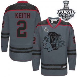 Men's Chicago Blackhawks Duncan Keith Reebok Authentic Cross Check Fashion 2015 Stanley Cup Patch Jersey - Charcoal