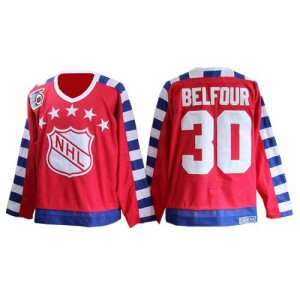 Men's Chicago Blackhawks ED Belfour CCM Authentic All Star 75TH Patch Throwback Jersey - Red