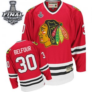Men's Chicago Blackhawks ED Belfour CCM Authentic Throwback 2015 Stanley Cup Patch Jersey - Red