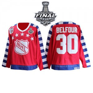 Men's Chicago Blackhawks ED Belfour CCM Premier All Star 75TH Patch Throwback 2015 Stanley Cup Patch Jersey - Red