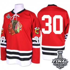 Men's Chicago Blackhawks ED Belfour Mitchell and Ness Premier 1960-61 Throwback 2015 Stanley Cup Patch Jersey - Red