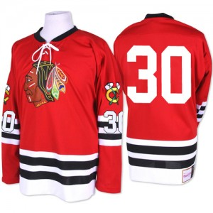 Men's Chicago Blackhawks ED Belfour Mitchell and Ness Premier 1960-61 Throwback Jersey - Red