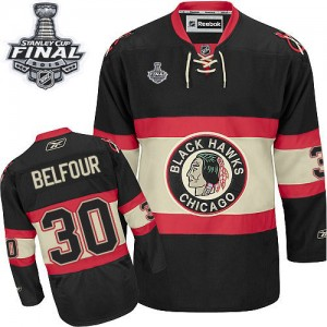 Men's Chicago Blackhawks ED Belfour Reebok Authentic New Third 2015 Stanley Cup Patch Jersey - Black
