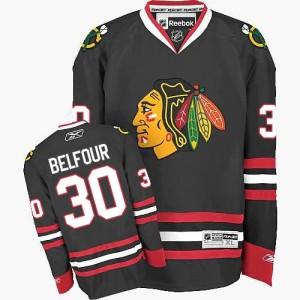 Men's Chicago Blackhawks ED Belfour Reebok Authentic Third Jersey - Black