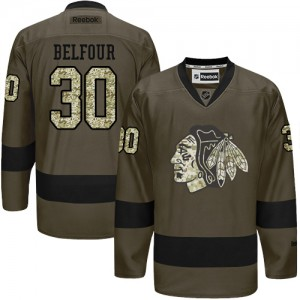 Men's Chicago Blackhawks ED Belfour Reebok Authentic Salute to Service Jersey - Green