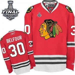 Men's Chicago Blackhawks ED Belfour Reebok Authentic Home 2015 Stanley Cup Patch Jersey - Red