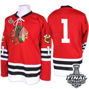 Men's Chicago Blackhawks Glenn Hall Mitchell and Ness Premier 1960-61 Throwback 2015 Stanley Cup Patch Jersey - Red