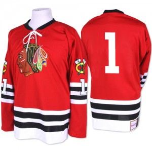 Men's Chicago Blackhawks Glenn Hall Mitchell and Ness Premier 1960-61 Throwback Jersey - Red