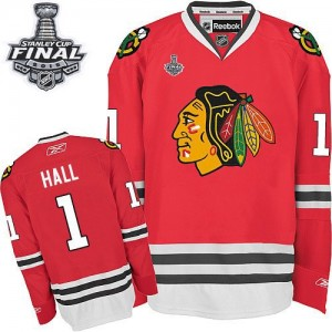 Men's Chicago Blackhawks Glenn Hall Reebok Authentic Home 2015 Stanley Cup Patch Jersey - Red