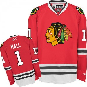 Men's Chicago Blackhawks Glenn Hall Reebok Authentic Home Jersey - Red