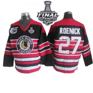 Men's Chicago Blackhawks Jeremy Roenick CCM Premier 75TH Patch Throwback 2015 Stanley Cup Patch Jersey - Red/Black