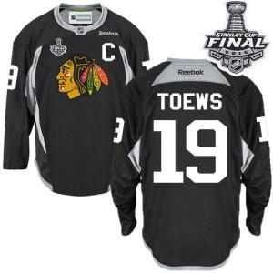 Men's Chicago Blackhawks Jonathan Toews Reebok Authentic Practice 2015 Stanley Cup Patch Jersey - Black