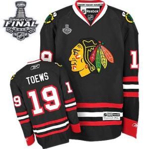 Men's Chicago Blackhawks Jonathan Toews Reebok Authentic Third 2015 Stanley Cup Patch Jersey - Black