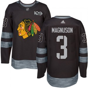 Men's Chicago Blackhawks Keith Magnuson Adidas Authentic 1917-2017 100th Anniversary Jersey - Black