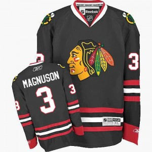 Men's Chicago Blackhawks Keith Magnuson Reebok Authentic Third Jersey - Black