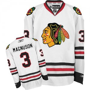 Men's Chicago Blackhawks Keith Magnuson Reebok Authentic Away Jersey - White