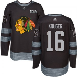Men's Chicago Blackhawks Marcus Kruger Adidas Authentic 1917-2017 100th Anniversary Jersey - Black
