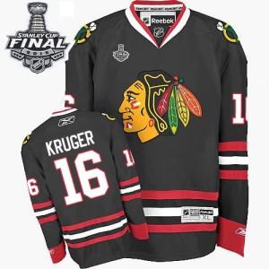 Men's Chicago Blackhawks Marcus Kruger Reebok Authentic Third 2015 Stanley Cup Patch Jersey - Black