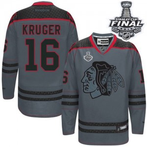 Men's Chicago Blackhawks Marcus Kruger Reebok Authentic Cross Check Fashion 2015 Stanley Cup Patch Jersey - Charcoal