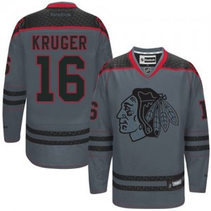 Men's Chicago Blackhawks Marcus Kruger Reebok Authentic Cross Check Fashion Jersey - Charcoal