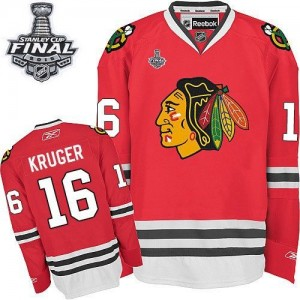 Men's Chicago Blackhawks Marcus Kruger Reebok Authentic Home 2015 Stanley Cup Patch Jersey - Red