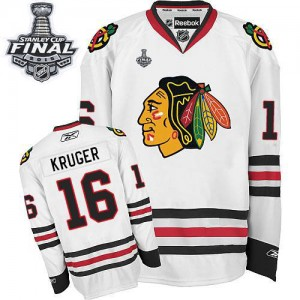 Men's Chicago Blackhawks Marcus Kruger Reebok Authentic Away 2015 Stanley Cup Patch Jersey - White