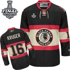 Men's Chicago Blackhawks Marcus Kruger Reebok Premier New Third 2015 Stanley Cup Patch Jersey - Black