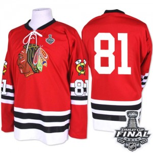 Men's Chicago Blackhawks Marian Hossa Mitchell and Ness Premier 1960-61 Throwback 2015 Stanley Cup Patch Jersey - Red