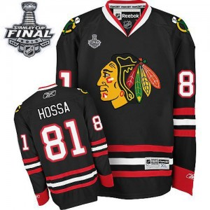 Men's Chicago Blackhawks Marian Hossa Reebok Authentic Third 2015 Stanley Cup Patch Jersey - Black