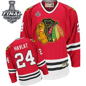 Men's Chicago Blackhawks Martin Havlat CCM Authentic Throwback 2015 Stanley Cup Patch Jersey - Red