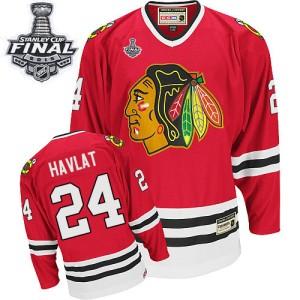 Men's Chicago Blackhawks Martin Havlat CCM Premier Throwback 2015 Stanley Cup Patch Jersey - Red