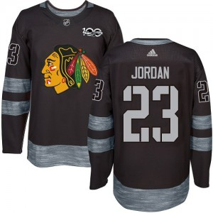 Men's Chicago Blackhawks Michael Jordan Adidas Authentic 1917-2017 100th Anniversary Jersey - Black
