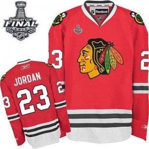 Men's Chicago Blackhawks Michael Jordan Reebok Authentic Home 2015 Stanley Cup Patch Jersey - Red
