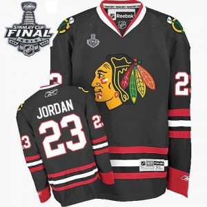 Men's Chicago Blackhawks Michael Jordan Reebok Premier Third 2015 Stanley Cup Patch Jersey - Black