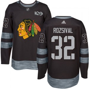 Men's Chicago Blackhawks Michal Rozsival Adidas Authentic 1917-2017 100th Anniversary Jersey - Black