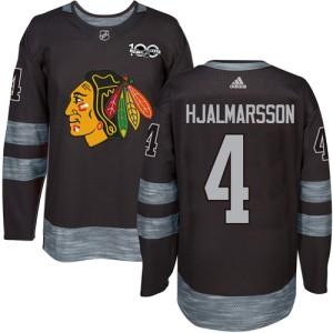 Men's Chicago Blackhawks Niklas Hjalmarsson Adidas Authentic 1917-2017 100th Anniversary Jersey - Black