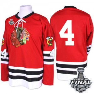 Men's Chicago Blackhawks Niklas Hjalmarsson Mitchell and Ness Authentic 1960-61 Throwback 2015 Stanley Cup Patch Jersey - Red