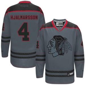 Men's Chicago Blackhawks Niklas Hjalmarsson Reebok Authentic Cross Check Fashion Jersey - Charcoal