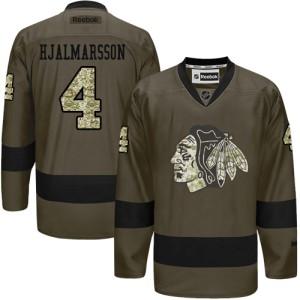 Men's Chicago Blackhawks Niklas Hjalmarsson Reebok Authentic Salute to Service Jersey - Green