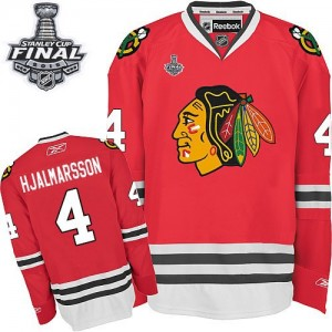 Men's Chicago Blackhawks Niklas Hjalmarsson Reebok Authentic Home 2015 Stanley Cup Patch Jersey - Red