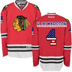 Men's Chicago Blackhawks Niklas Hjalmarsson Reebok Authentic USA Flag Fashion Jersey - Red