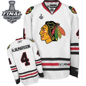 Men's Chicago Blackhawks Niklas Hjalmarsson Reebok Authentic Away 2015 Stanley Cup Patch Jersey - White