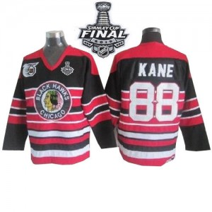 Men's Chicago Blackhawks Patrick Kane CCM Authentic 75TH Patch Throwback 2015 Stanley Cup Patch Jersey - Red/Black