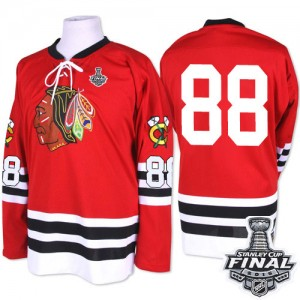 Men's Chicago Blackhawks Patrick Kane Mitchell and Ness Authentic 1960-61 Throwback 2015 Stanley Cup Patch Jersey - Red