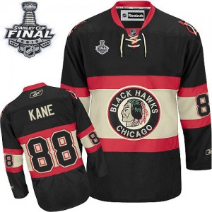 Men's Chicago Blackhawks Patrick Kane Reebok Authentic New Third 2015 Stanley Cup Patch Jersey - Black