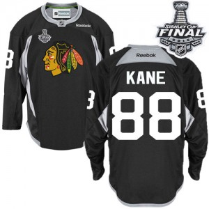 Men's Chicago Blackhawks Patrick Kane Reebok Authentic Practice 2015 Stanley Cup Patch Jersey - Black