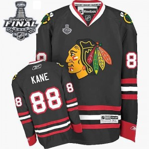 Men's Chicago Blackhawks Patrick Kane Reebok Authentic Third 2015 Stanley Cup Patch Jersey - Black
